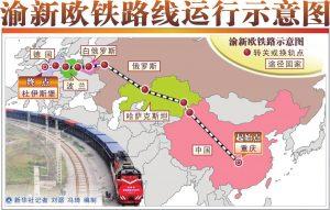 渝新欧铁路线运行地图